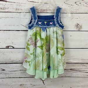 L'E Boutique Girls Dress Denim Floral Boho